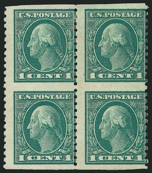Stamps Scott Catalog #424 1914 1c Washington Perf 10