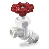 White PVC 45 Inlet Hose Bibb Valve   U.S. Plastic Corp.