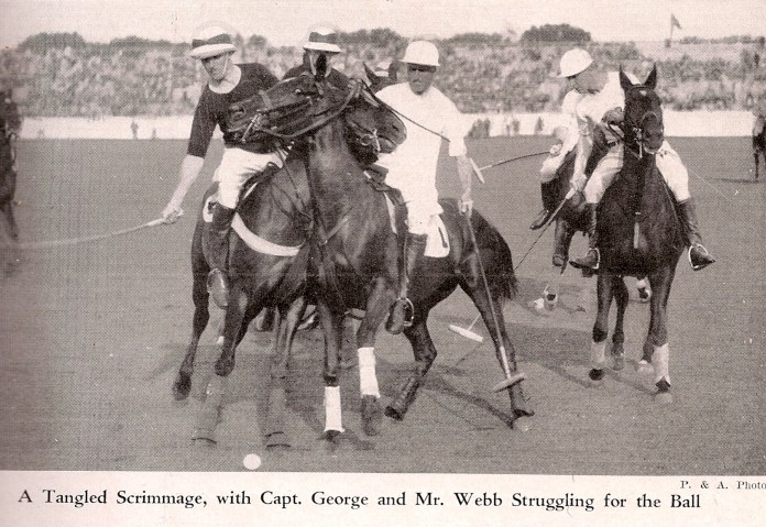 James Watson Webb in white on Chemawa in the 1927 International Polo Matches. Photo from POLO, Oct. 1927.