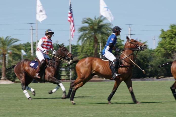 Karl Hilberg of Navy pursues Pablo Dorignac of Grand Champions. Photo courtesy ChukkerTV.