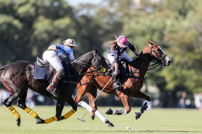 USA's Maureen Brennan on the ball with Argentina's USA's Maureen Brennan and Milagros Fernández Araujo going for the hook. Photo credit: Matias Callejo/AAP