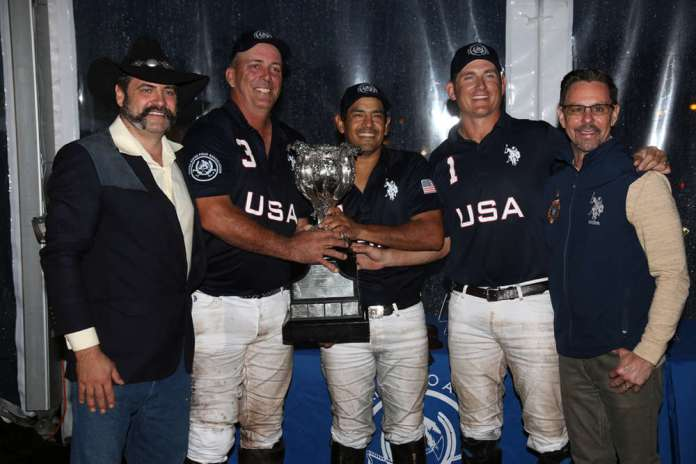 2019 Townsend Cup Champions: USA - Tommy Biddle Jr., Pelon Escapite, Steve Krueger, presented by USPA Arena Committee Chairman Dan Coleman and USPA CEO Bob Puetz.