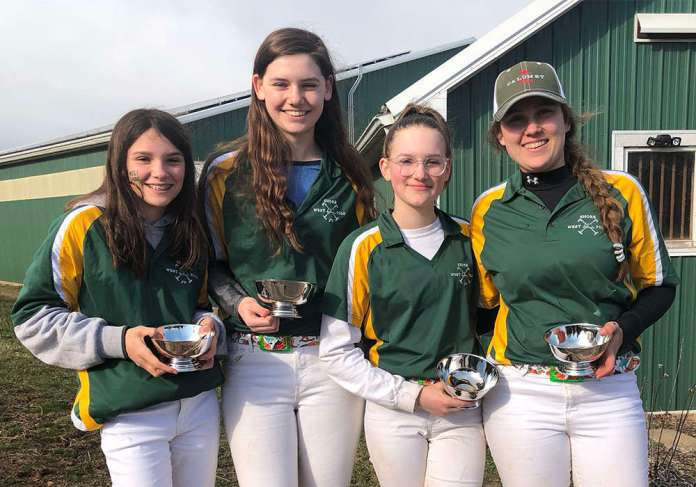 Southeastern Interscholastic Open Preliminary I Champions: West Shore - Cate Godey, Lucy Steele, Victoria Picha, & Sarah Lynch.