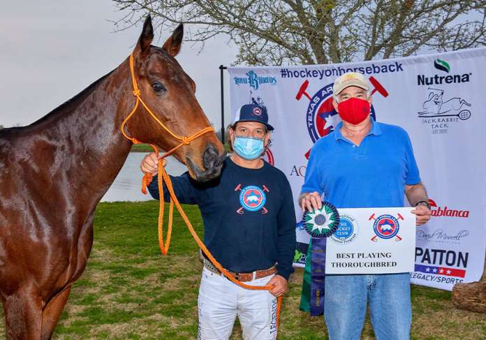 The Jockey Club Thoroughbred Incentive Program Best Playing Thoroughbred for 6-9 Goal Gemma (Jockey Club Knight Spice), owned by Legends Polo Club. Pictured with Nacho Estrada and Steve Armour. ©David Murrell