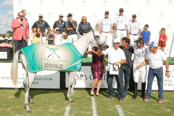 Best Playing Pony USPA Gold Cup® Final: Macarena, played by Adolfo Cambiaso, owned by Mariano Gonzalez, pictured with Brenda Lynn of the Museum of Polo and Hall of Fame, Lalo Ugarte and Gustavo Gomez.