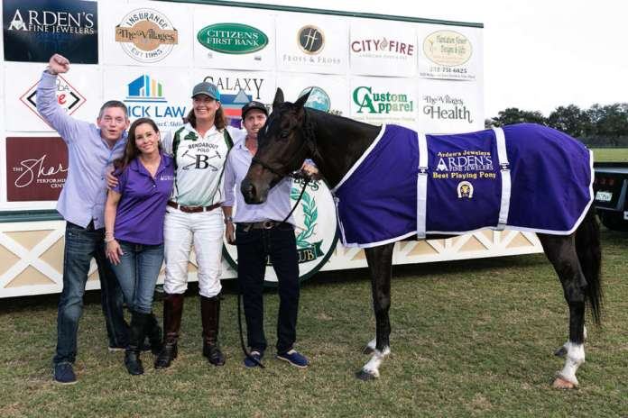 Best Playing Pony Noche played by Gillian Johnston, owned by Francisco Bilbao, pictured with Alfredo Azaro and Arden's Fine Jewelers Kate and Blake Gallaher.