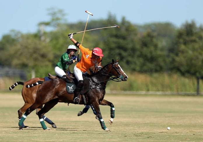 Cowdray Vikings' Gillian Johnston competing in the U.S. Open Women's Polo Championship®.