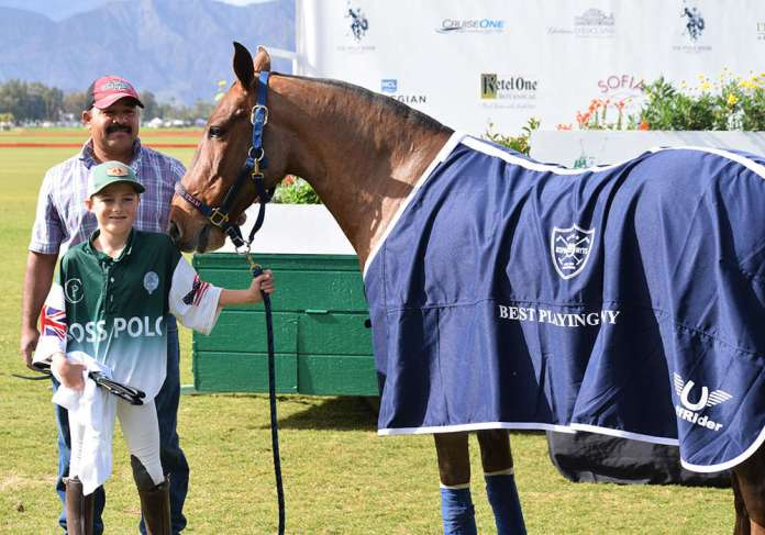 Best Playing Pony Speedy pictured with Nick Fernandez ©Eldorado Polo Club-Kerri Kerley