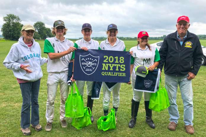 Blackberry Polo Club NYTS Qualifier Champions: Font Polo - James Boland, Maximo Font, Grace Mudra, Joscelin Gallegos, pictured with Barb and George Alexander.