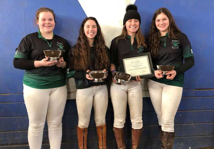 Northeastern Interscholastic Girls' Regional  Champions: Boston Polo Club Left to Right: Emerson Bruce, Brynn Roberts, Julia Schaefer, Ariadne Dogani