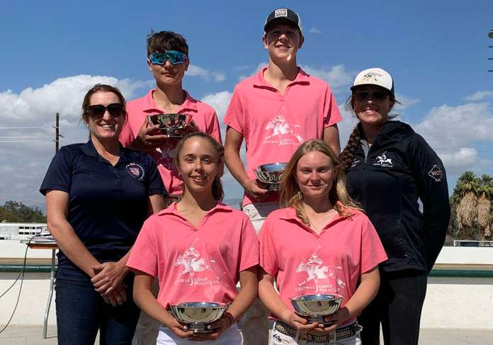 Western Interscholastic Open Regional Champions: Central Coast Polo Club Left to Right: Morgan Manos, Sara Espy, Josh Falk, Taylor Olcott, with coaches Megan Judge and Maggie Papka