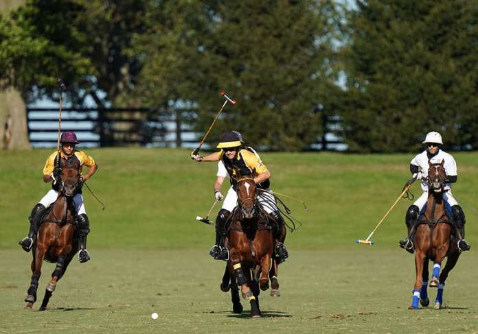 Faraway's Hutton Goodman leads the field on a breakaway.