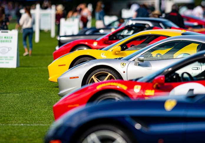 Ferraris were on display during the car show at Oak Brook Polo Club.