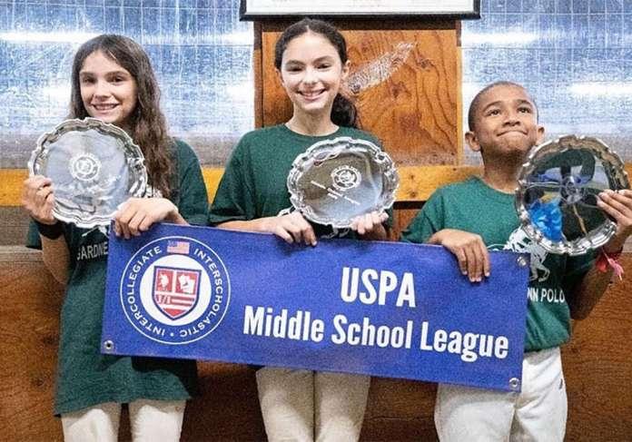 Gardnertown Polo Club Middle School Tournament Champions: (L to R) Cate Godey, Sammi Iahn, Adam Wallace