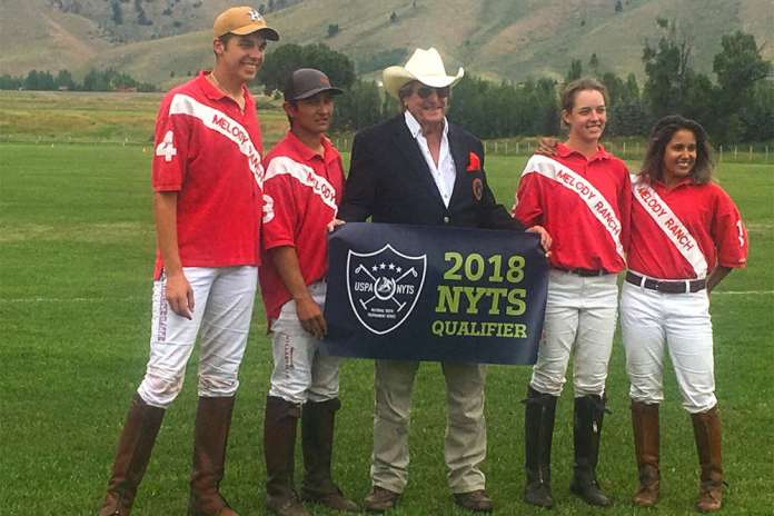 Jackson Hole Polo Club NYTS Qualifier champions Melody Ranch Red (L to R) Anson Moore, Chino Payan, Paul Von Gontard, Grace Parker, Maya Tanduwaya.