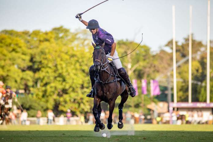 Nic Roldan on a flying pony during the Palermo Argentine Open game versus Las Monjitas.