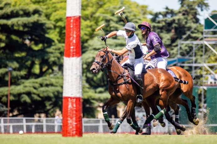 Jared Zenni of La Cañada Daily Racing Form on the ball during his team's first game in the Argentine Open.