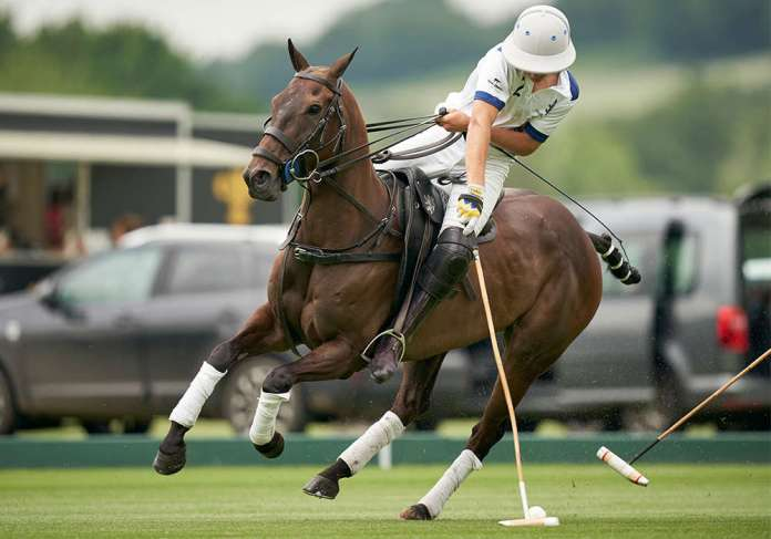 Monterosso's Mackenzie Weisz playing the ball on the nearside during the British Gold Cup.
