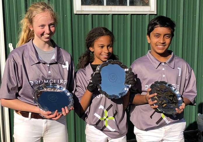 Marlan Farm Polo Club Middle School Tournament Champions: (L to R) Rory Knox, Mya Quarcoopome, Aleem Siddiqui