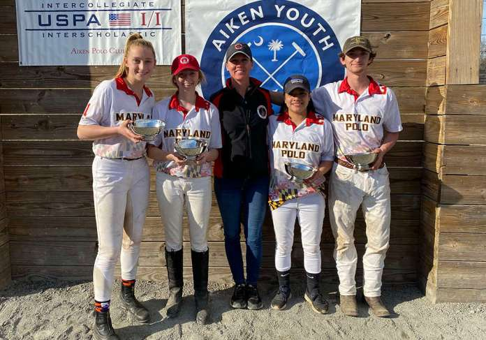 Southeastern Interscholastic Open Regional Champions: Maryland Polo Club Left to Right: Jordan Peterson, Aurora Knox, Grace Beck, Kevin Horton, with coach Kelly Wells