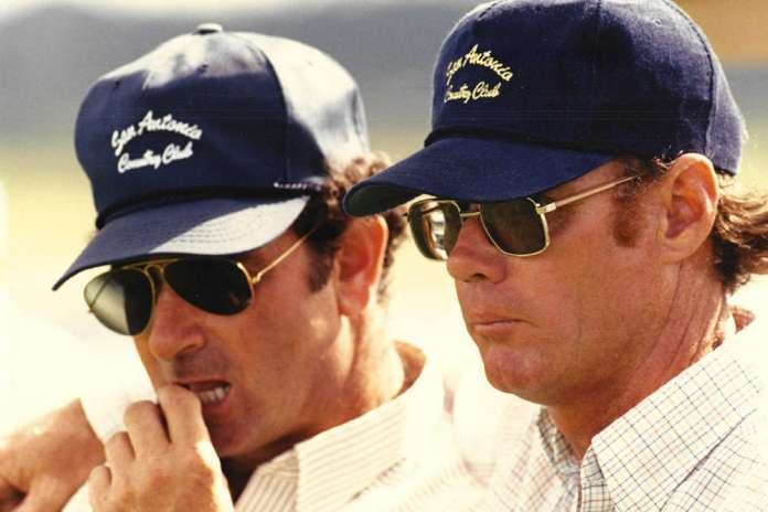 Tony Coppola and Jimmy Newman announcing the 1986 U.S. Open Polo Championship®, the last of eight Opens at the club.