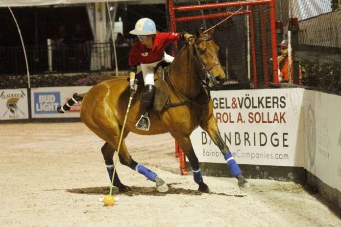 Poroto Cambiaso in a youth arena polo exhibition during Gladiator Polo™ in Wellington, Florida.