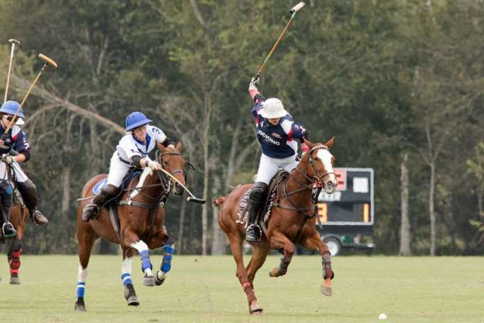Hazel Jackson and Izzy Parsons competing in the 2018 U.S. Open Women's Polo Championship at the Houston Polo Club in Houston, Texas.