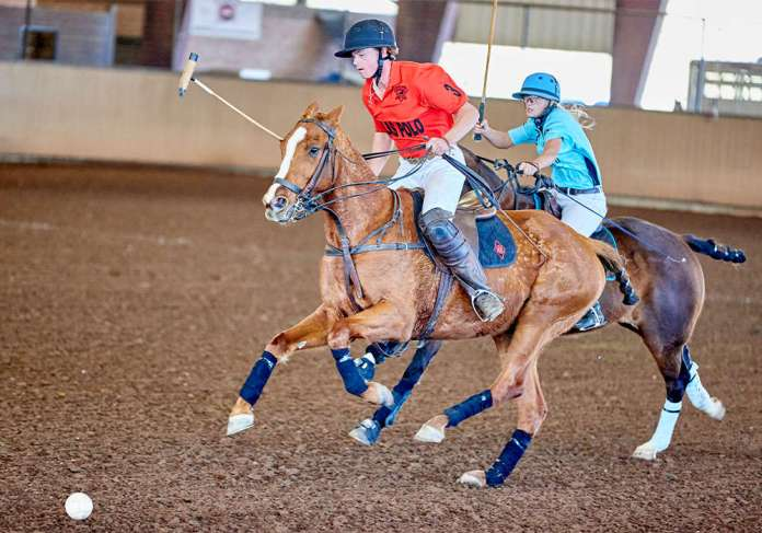 Dallas Polo Club's Will Walton approaching the ball, closely followed by Elite Motion & Performance's Lara Straussfeld.