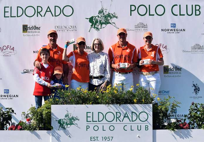 4-goal Carlton & Keleen Beal Cup Champions: La Fortuna - Luis Saracco, Caroline Anier, TJ Elordi and Elise Bigelow, presented by Karlene Garber.