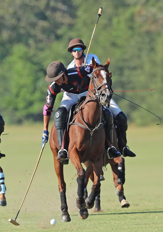 La Bourgogne's Alan Martinez manoeuvres ahead of Orchard Pond-Un-Stable's Sterling Giannico.
