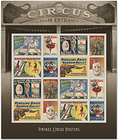 Vintage Circus Posters Stamps