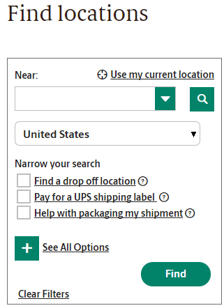 UPS Find Locations Tool