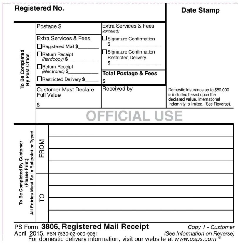 PS Form 3806 - 1