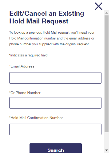 Edit or cancel Your hold Mail request pop up
