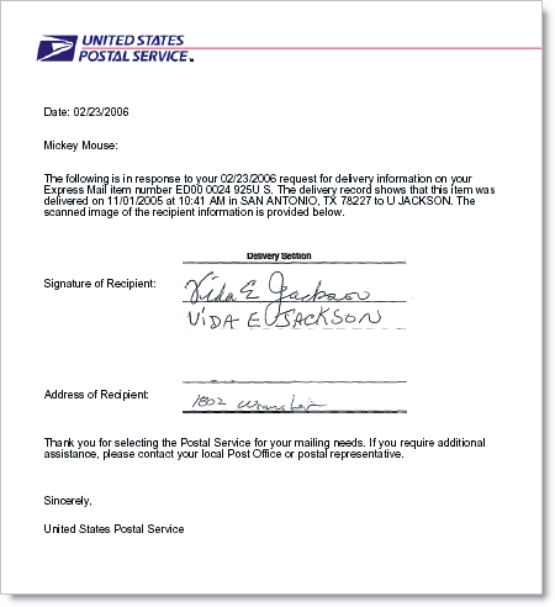 Proof of Delivery Or Confirmation Letter