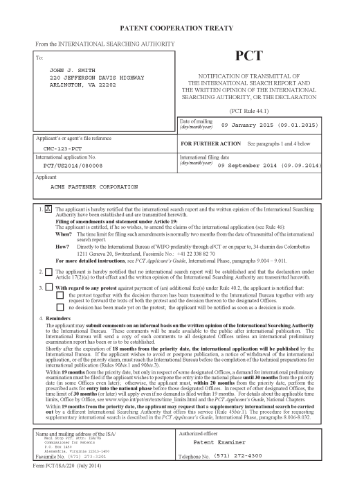 small resolution of notification of transmittal of the international search report and the written opinion of the international searching