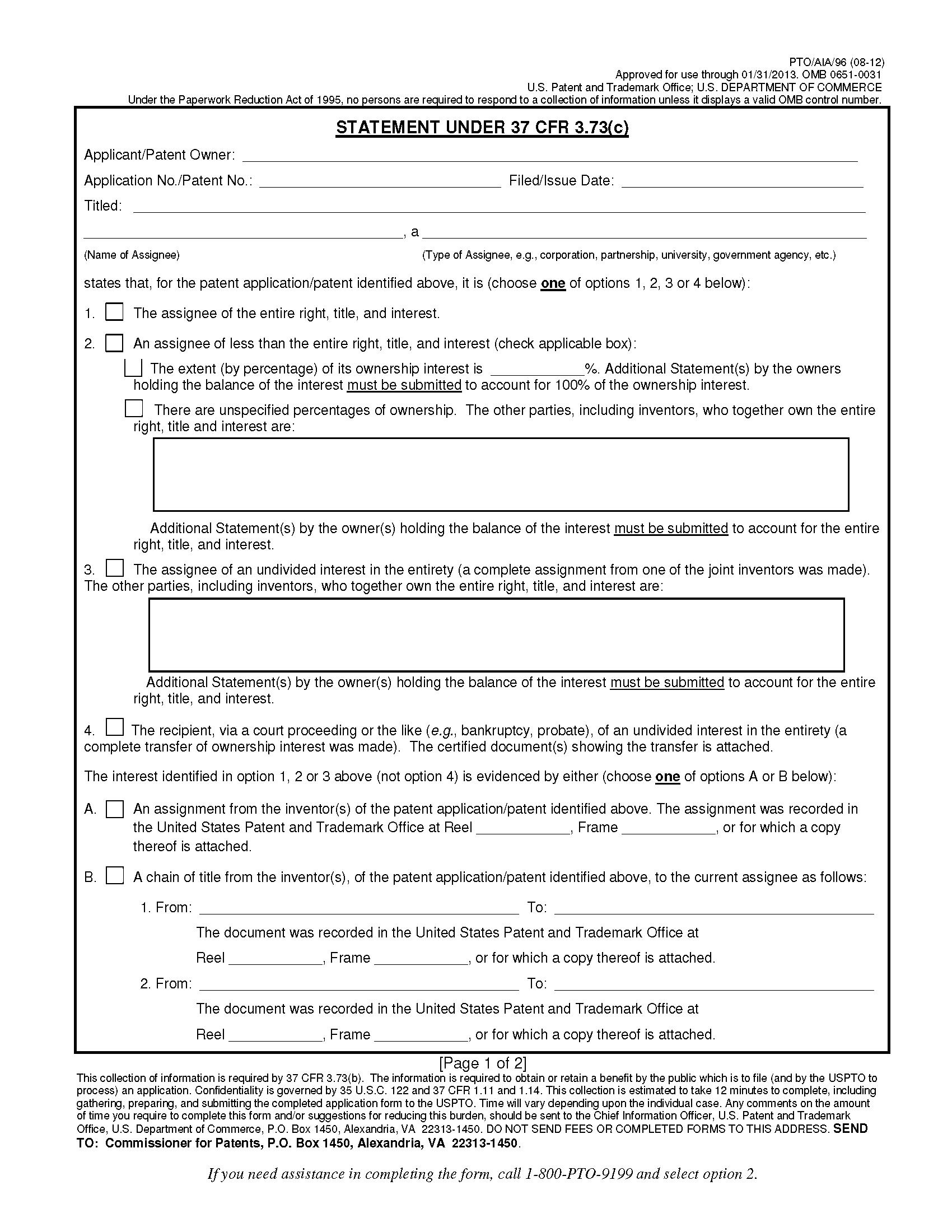 Form Pto/aia/96. Statement Under 37 Cfr 3.73(C),