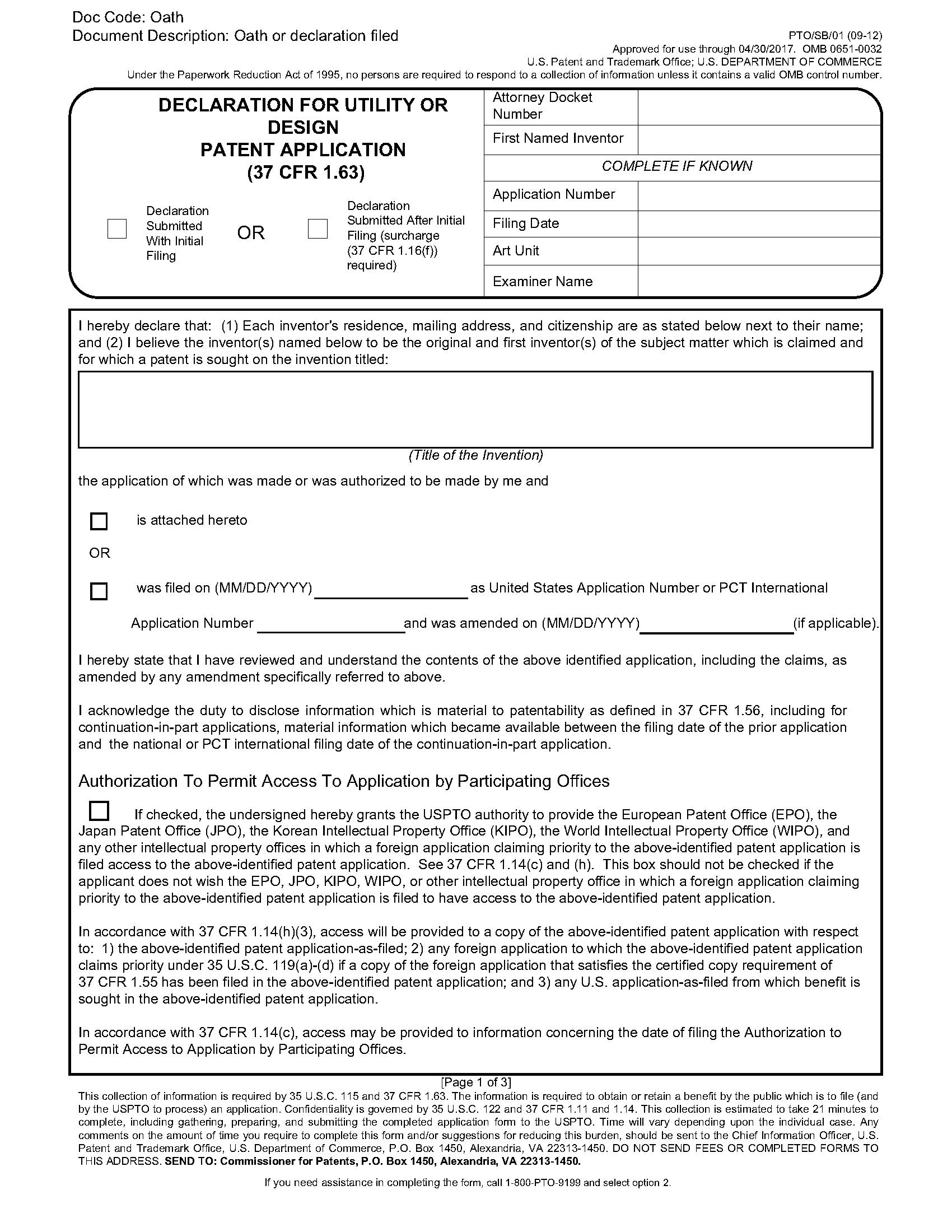 Declaration For Utility Or Design Patent Application - (37 Cfr 1.63)