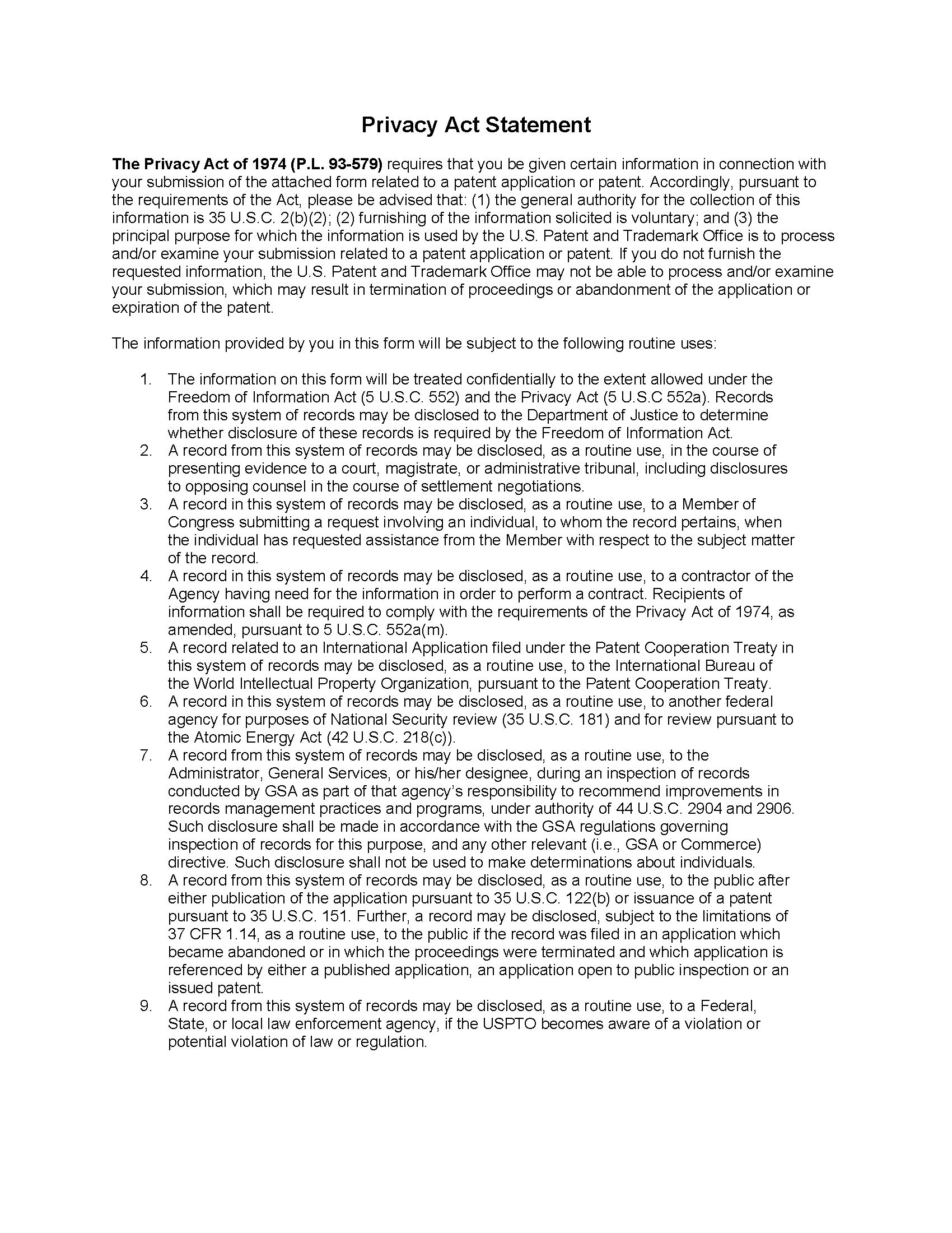Pto/sb/08A Privacy Act Statement