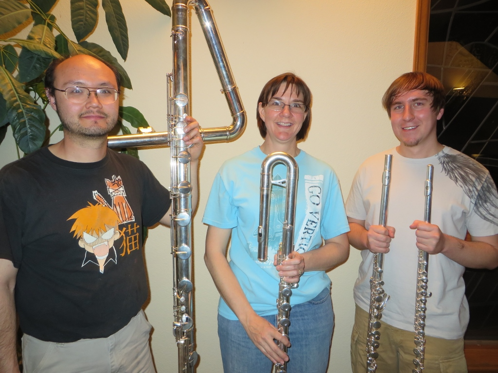 "A regular ""C"" flute next to an alto, bass, and contrabass flute. Photo courtesy of Janet Rose, The Cheyenne Edition"