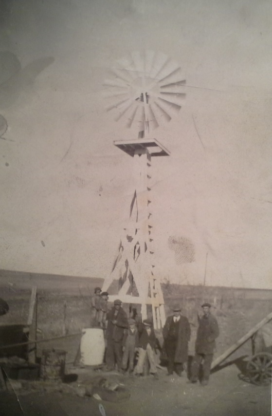 The windmill on the homestead, circa 1920. Photo courtesy of Rusty Winters.