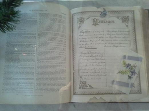 A family Bible, once thrown away by someone at Colorado College. Note the marriage dates for all the McAllisters.