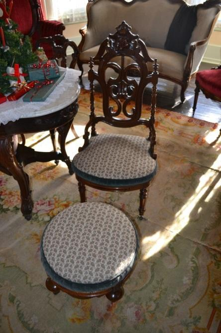 A chair and a footstool, part of a three-piece set gifted to the McAllisters by William and Queen Palmer. Photo courtesy of Sherrie Horn.