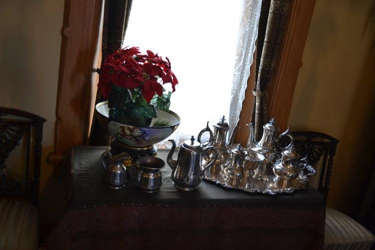 The McAllister silver (left) was unpretentious, as was the Quaker way. Compare it to a donated silver set (right).