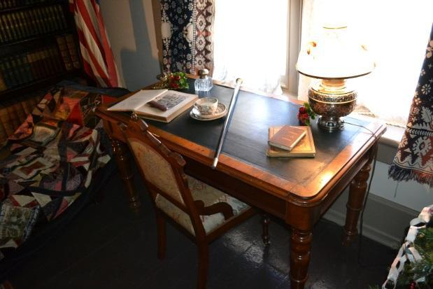 Henry McAllister's desk, with his walking stick. Photo courtesy of Sherrie Horn.