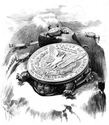 A political cartoon from 1895 depicting Haw Tabor and his silver dollar. (Credit: Penrose Library Digital Collection)