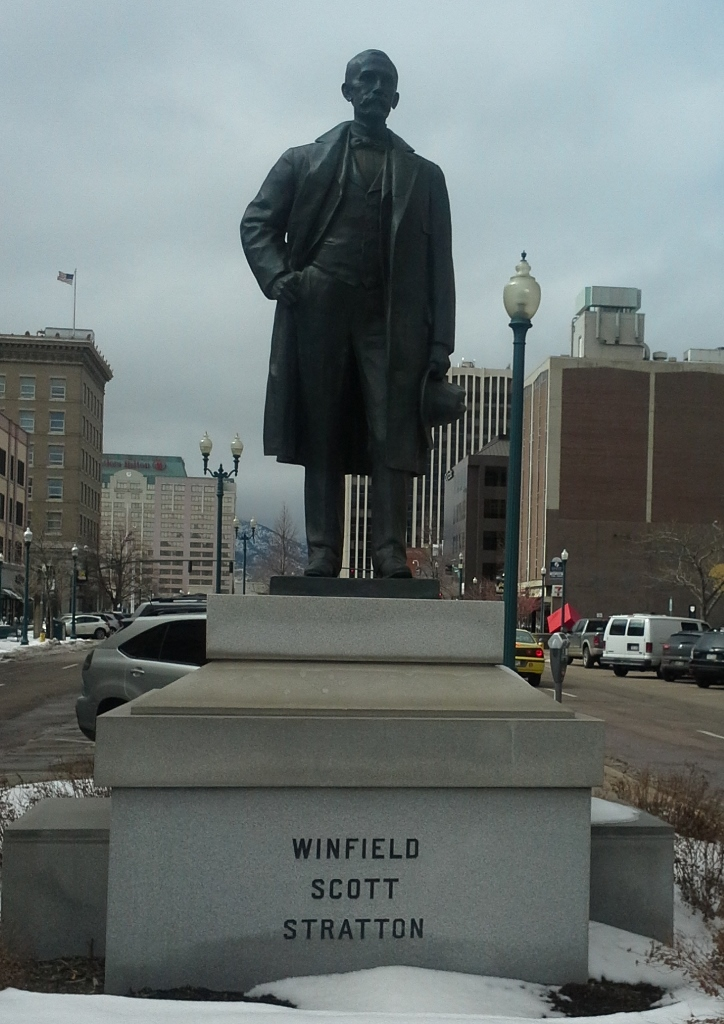 Statue of Winfield Scott Stratton in downtown Colorado Springs. (Credit: DeLyn Martineau)