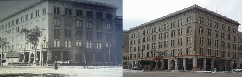 The Mining Exchange, both during final construction and today. (Credit: Penrose Library Digital Collection, and DeLyn Martineau)