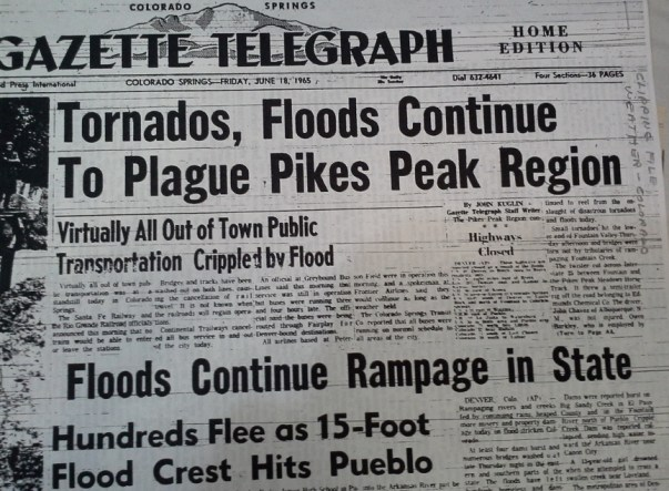 The Headline of the Gazette Telegraph after the 1965 flood. (Credit: Penrose Library Special Collections)