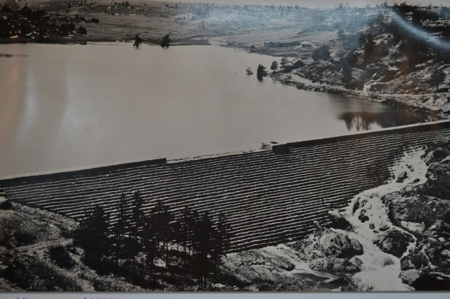 The Castlewood Dam, circa 1900. (Credit: Sherrie Horn; original photo courtesy of Denver Public Library).